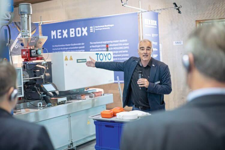 """Steffen Ritter sa Sveučilišta Reutlingen i njegov tim studenata osmislili su kutiju za ručak MEX BOX i proizveli je uživo tijekom sajma. """"Ova specifična promocija mladih predstavlja optimalno umrežavanje teorije i prakse."""""""