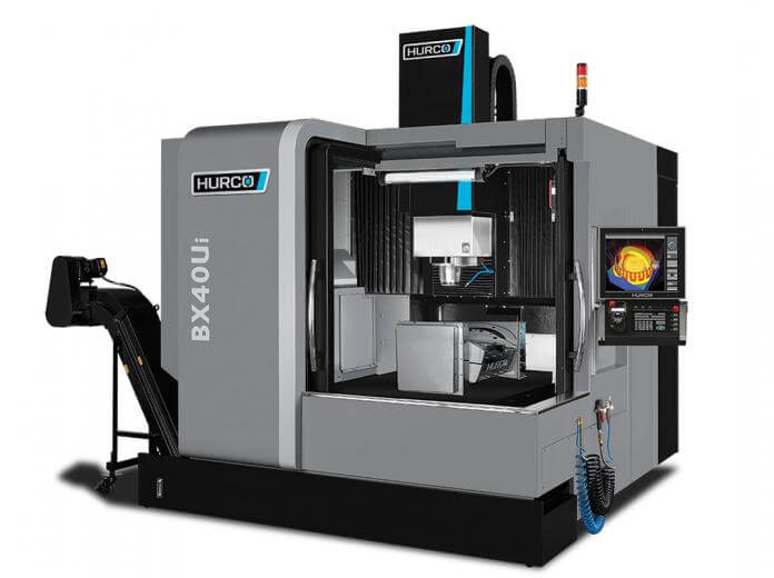 Hurco BX40Ui five-axis CNC double-column machining center, with trunnion table mounted along the Y-axis, is the perfect combination of performance and flexibility.