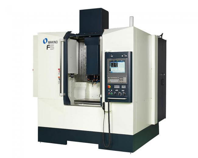 The recently introduced Makino F5 Pro 6 vertical cnc machining center is designed for rigidity, for chatter-free cutting, and the agility and accuracy required for milling tight-tolerance