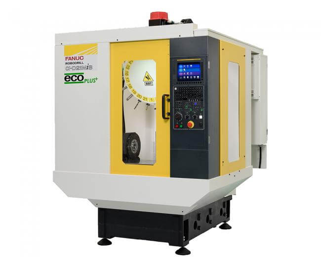 FANUC RoboDrill eco/ecoPLUS high-speed machining centers offer milling, drilling, tapping, deburring, and chamfering.