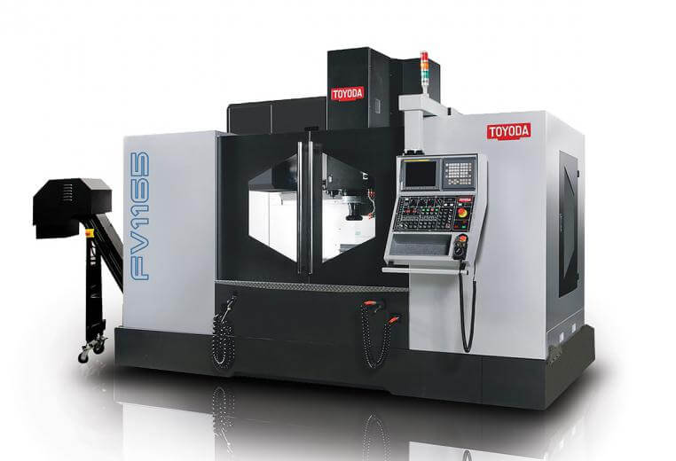 The Toyoda FV1165 heavy-duty vertical machining center offers fourth-axis machining as a standard, providing shops with greater flexibility through rotary table integrations and a high-performance spindle.