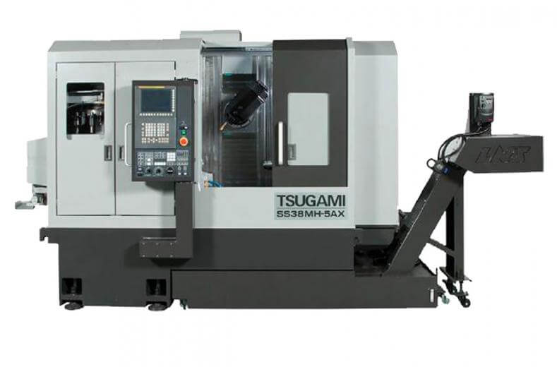 The Tsugami SS38MH-5AX is a 38-mm chucker-convertible, B-axis sliding headstock CNC lathe that performs full five-axis machining.