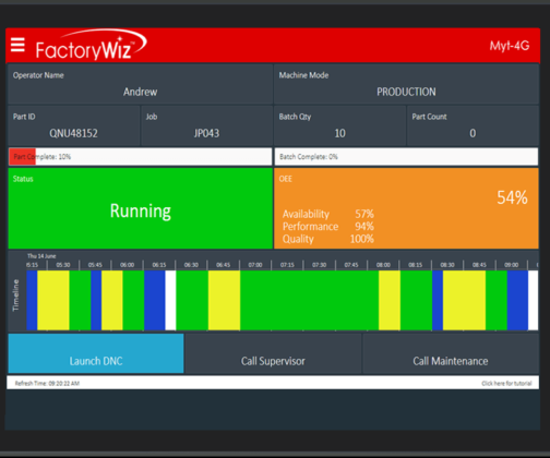 Designed for speed and ease of use, Productivity Manager software enables users to see a complete live overview of all enterprise sites and departments and to drill down into specific metrics such as machines, work orders, parts, operators and shifts.