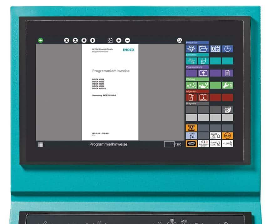Dokumentacija korisnika i stroja ugrađena je kao pozadinska informacija u Xpanel kada je stroj pušten u rad. Uputstva za rad i programiranje, kao i kompletni dijagrami sklopova i hidraulike dio su paketa za pokretanje.