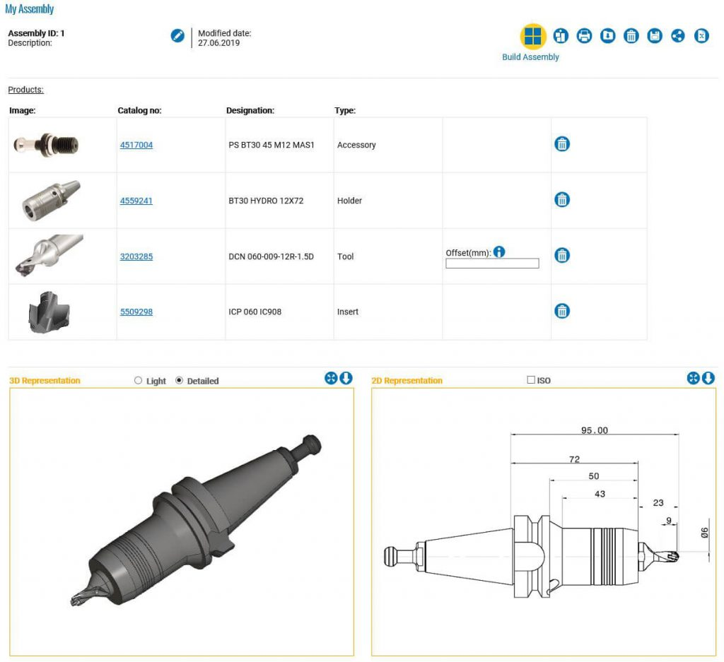 This new function allows creating the twin representation of a drilling or tapping tool assembly based on the ISO 13399 standard.