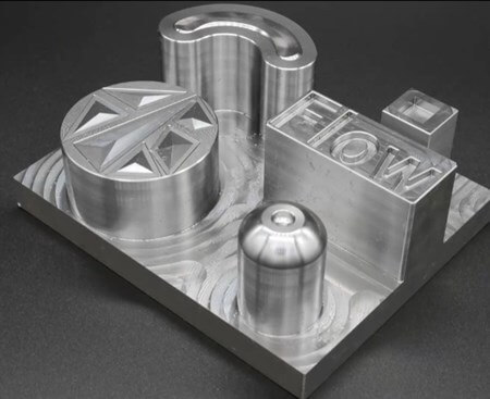 Siemens used this test part to demonstrate new state-of-the-art milling techniques. It is made of tool steel hardened to 54 HRC and was machined on a Micron HPM 800U machining center.