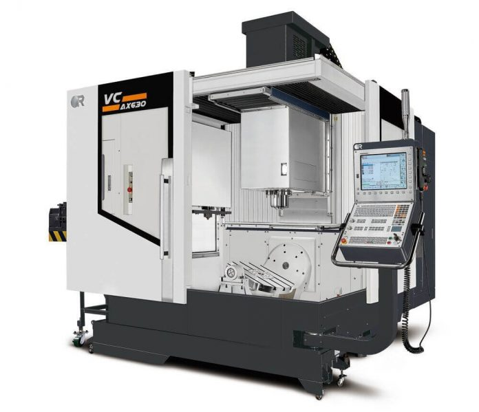 Vertical machining centre with B- and C-axis rotary table